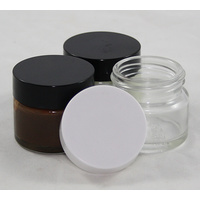 Clear Glass Cream Jar 15 ml with Black Lid