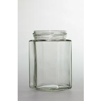 Jar-300ml Flint Glass Hexagonal Jar 63mm Twist Finish