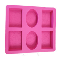 Soap Mould - 4 Rectangle & 2 Oval (Embossed) 6 Cavity