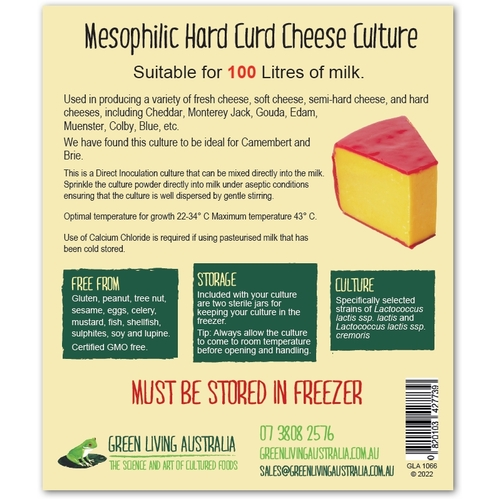 Mesophilic Hard Curd Cheese Culture with Sterile Jar - 100 litres