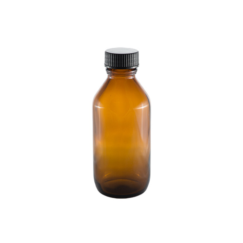 Amber Round Glass Bottle with Lid - 50 ml