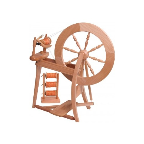 Traditional Spinning Wheel Double Drive  - Natural
